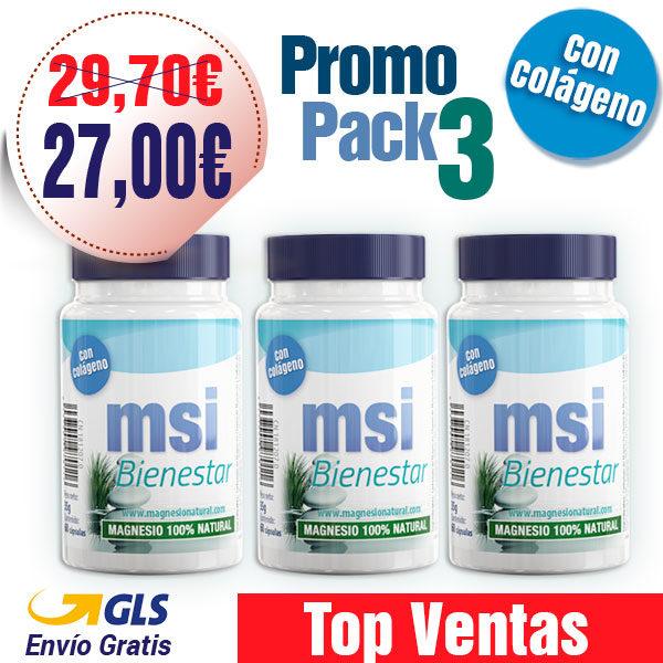 MSI Magnesio Natural con Colágeno - Promo Pack 3