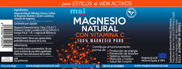 MSI Sport Magnesio Natural con Vitamina C - 60 cápsulas