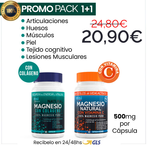 PACK 1+1 MSI Bienestar Colágeno con Magnesio + MSI Sport Magnesio con Vitamina C