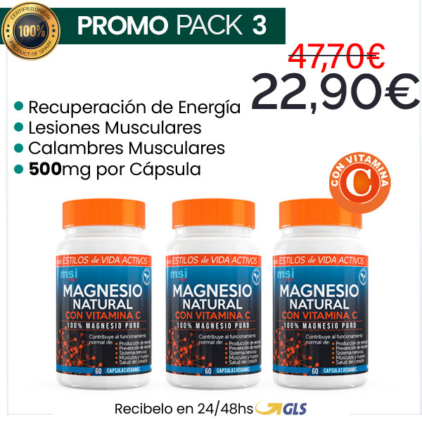 MSI Sport Magnesio Natural con Vitamina C – Pack 3 ¡SUPER OFERTA!