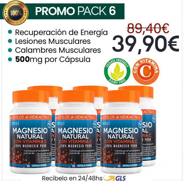 MSI Sport Magnesio Natural con Vitamina C - Pack 6 ¡SUPER OFERTA!