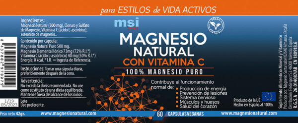 MSI Sport - Magnesio Natural con Vitamina C - Ingredientes