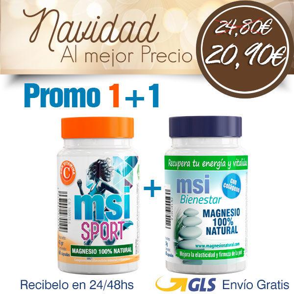 PACK 1+ 1 MSI Bienestar Magnesio Natural con Colágeno + MSI Sport Magnesio Natural con Vitamina C