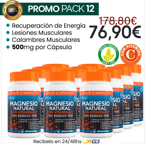 MSI Sport Magnesio Natural con Vitamina C – Pack x 12
