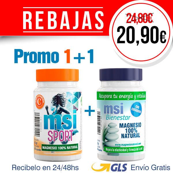 PROMO COMPARTE 1+1 MSI Bienestar Magnesio Natural con Colágeno + MSI Sport Magnesio Natural con Vitamina C