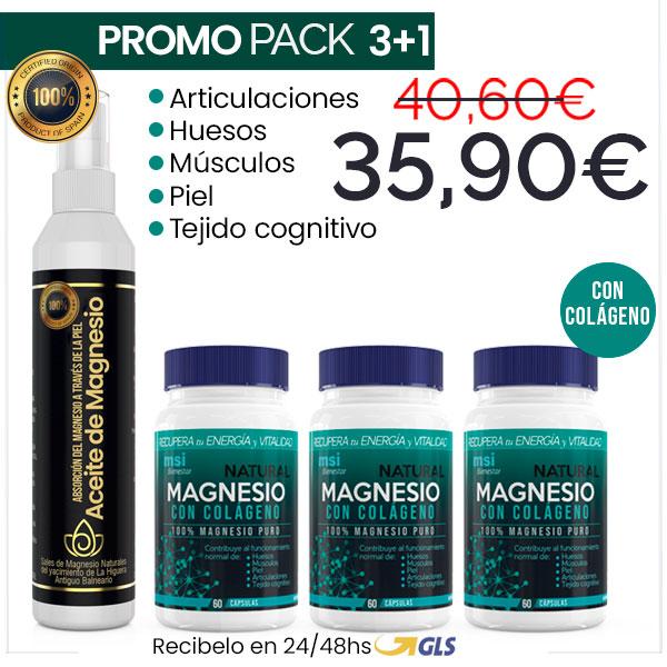 MSI Bienestar. Magnesio Natural con Colágeno + Aceite de Magnesio. Promo Pack 3+1