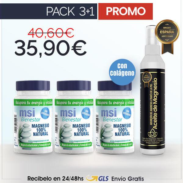 MSI Bienestar Magnesio Natural con Colágeno + Aceite de Magnesio en Spray | PACK 3+1