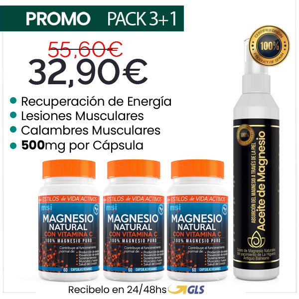 MSI Sport Magnesio Natural con Vitamina C + Aceite de Magnesio en Spray | PACK 3+1