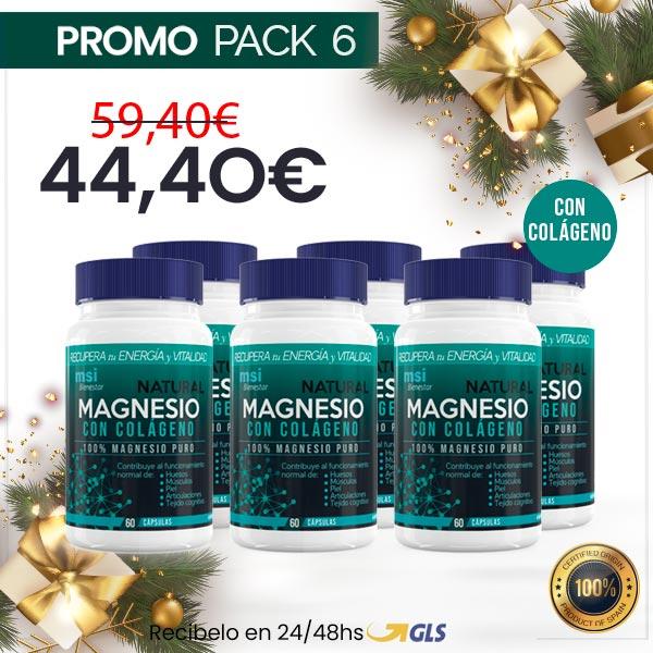 MSI Bienestar. Magnesio Natural con Colágeno | Pack 6 Unidades