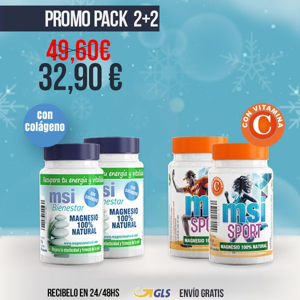PROMO COMPARTE 2+2 MSI Bienestar Magnesio Natural con Colágeno + MSI Sport Magnesio Natural con Vitamina C