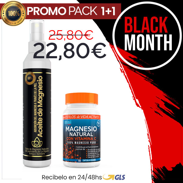 Aceite de Magnesio en Spray + MSI Sport Magnesio Natural con Vitamina C   PACK 1+1