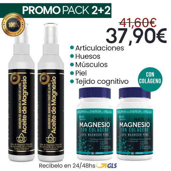 MSI Bienestar Magnesio Natural con Colágeno + Aceite de Magnesio en Spray | PACK 2+2