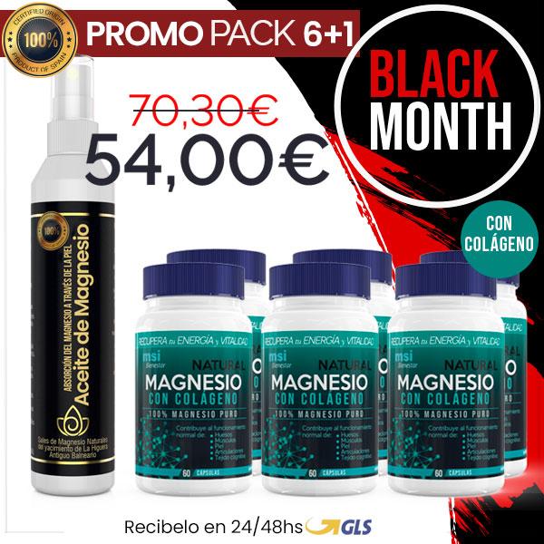 MSI Bienestar Magnesio Natural con Colágeno + Aceite de Magnesio en Spray | PACK 6+1