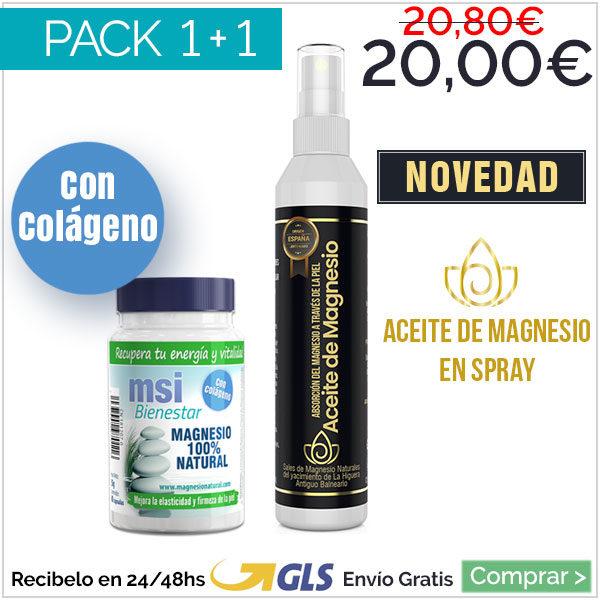 Aceite de Magnesio + MSI Bienestar Magnesio con Colágeno. Oferta Lanzamiento