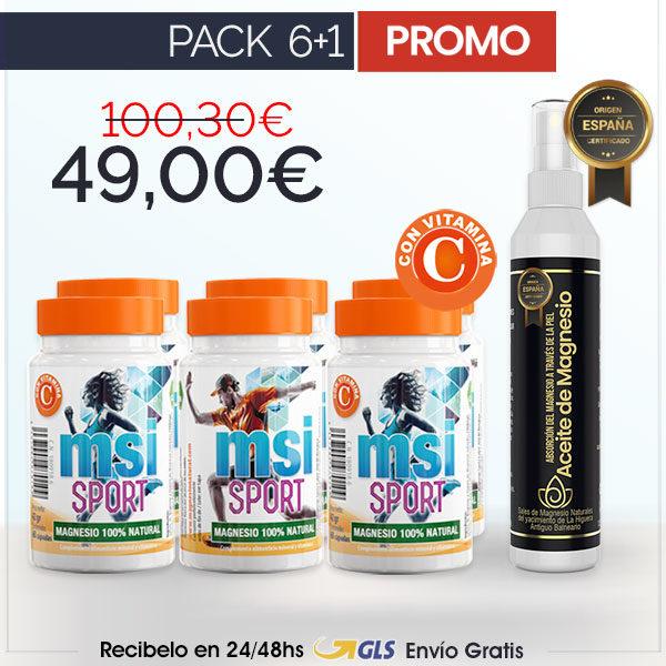 MSI Sport Magnesio Natural con Vitamina C + Aceite de Magnesio en Spray | PACK 6+1