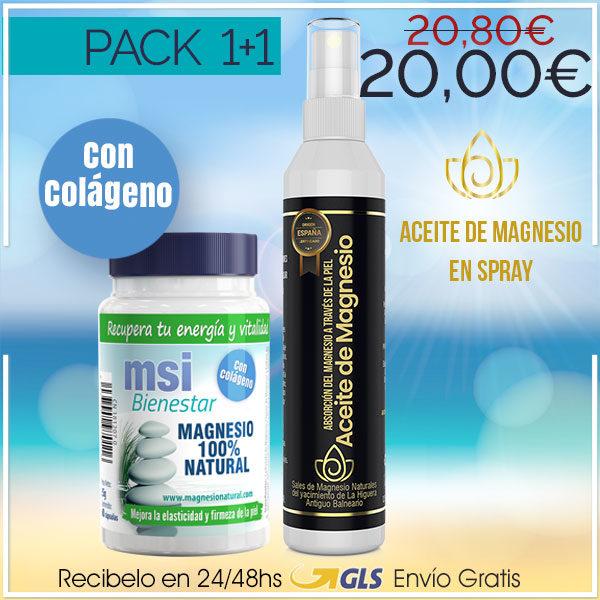 MSI Bienestar Magnesio Natural con Colágeno + Aceite de Magnesio en Spray | PACK 1+1