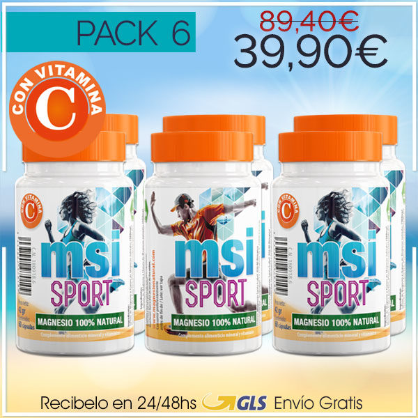 MSI Sport Magnesio Natural con Vitamina C – Pack 6 ¡SUPER OFERTA!