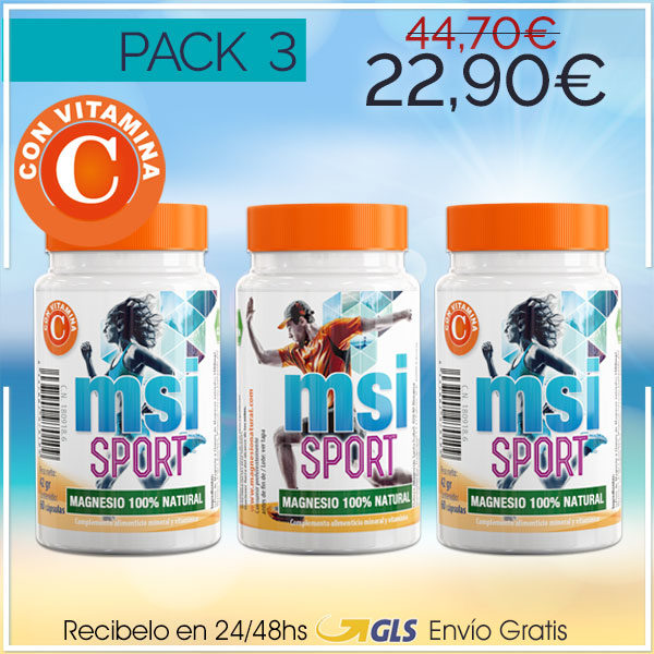 MSI Sport Magnesio Natural con Vitamina C – Pack 3 ¡SUPER OFERTA!