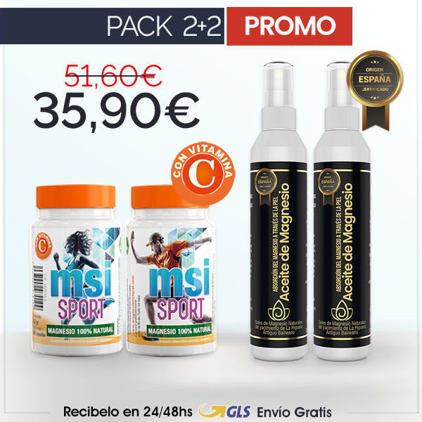 Aceite de Magnesio en Spray + MSI Sport Magnesio Natural con Vitamina C | PACK 2+2