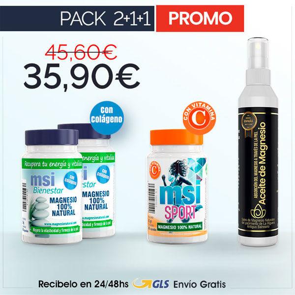 MSI Bienestar Magnesio Natural con Colágeno + MSI Sport Magnesio Natural con Vitamina C + Aceite de Magnesio en Spray | PACK 2+1+1