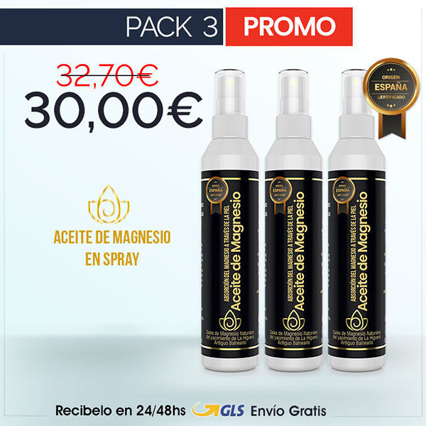 Aceite de Magnesio Natural en Spray - Pack 3
