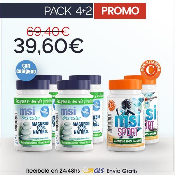 PROMO COMPARTE 2+2 MSI Bienestar Magnesio Natural con Colágeno + MSI Sport Magnesio Natural con Vitamina C - PACK 4+2