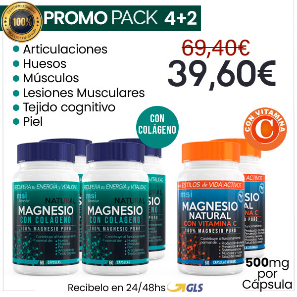 PACK COMBINADO 8 MESES | 4+2 MSI Bienestar Colágeno con Magnesio + MSI Sport Magnesio y Vitamina C