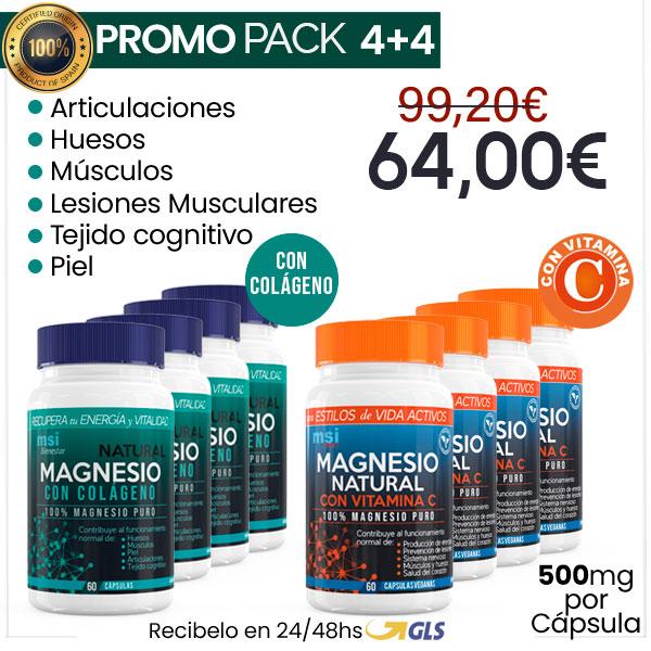PACK 4+4 MSI Bienestar Colágeno con Magnesio + MSI Sport Magnesio con Vitamina C
