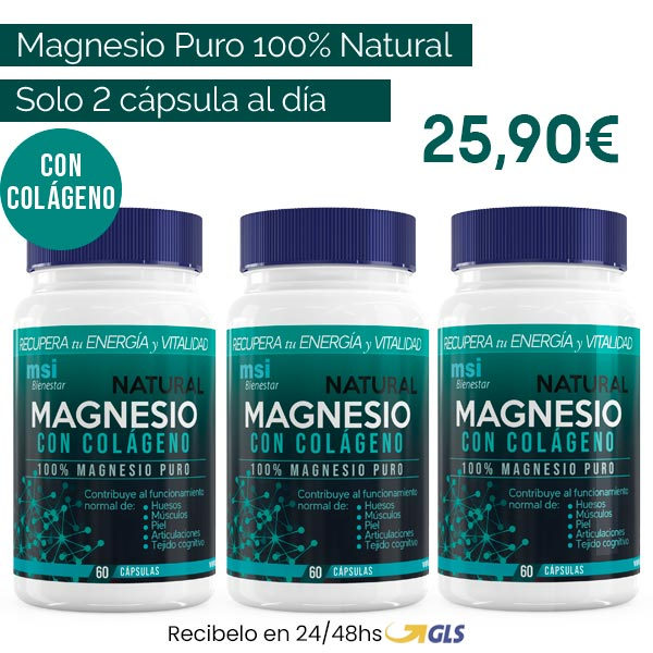 MSI Bienestar. Magnesio Natural con Colágeno. Promo Pack 3 meses